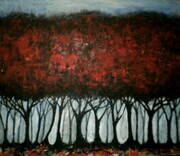 'Mist Behind The Red Forest'  3'x3.5'