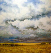 "30""x30"" Prairie Field  Under Conflicted Sky"